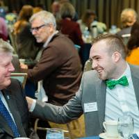 Benjamin Parsell talking with President Haas at Scholarship Dinner 2019